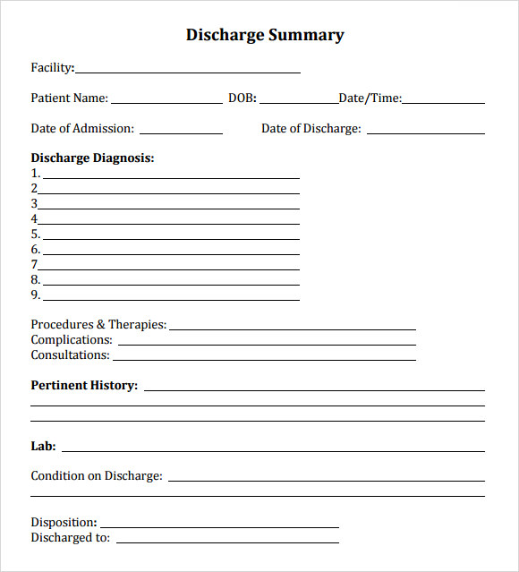 hospital discharge forms download sample discharge summary template