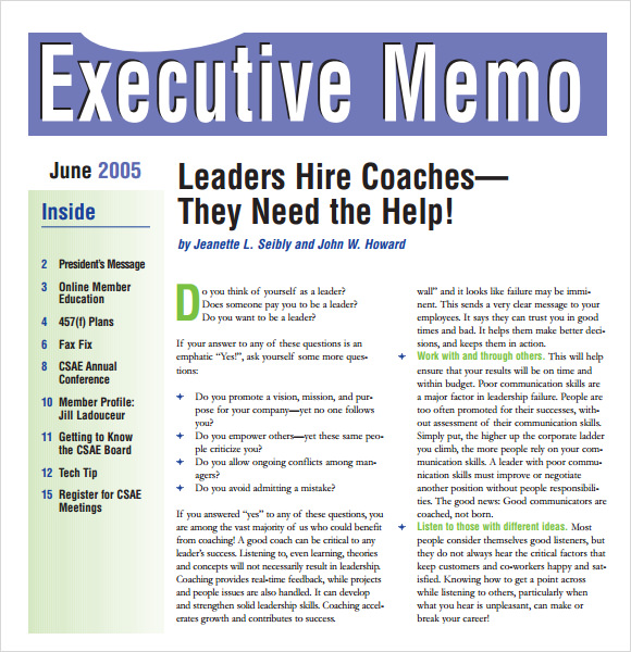 Sample Executive Memo   Documents In Pdf Word