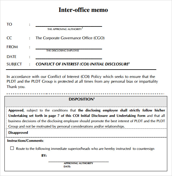 Good Sample Inter Office Memos  Inter Office Communication Letter