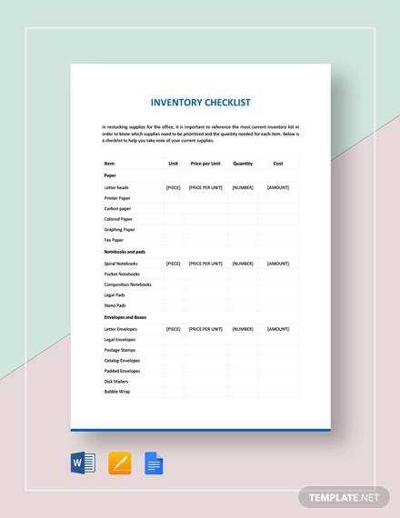 sample inventory checklist template2