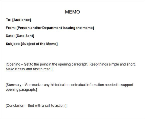 sample memo template .