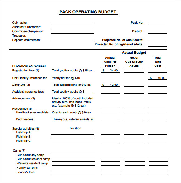 Sample Operating Budget Template