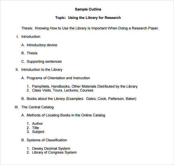 Formal Outline Template For An Essay