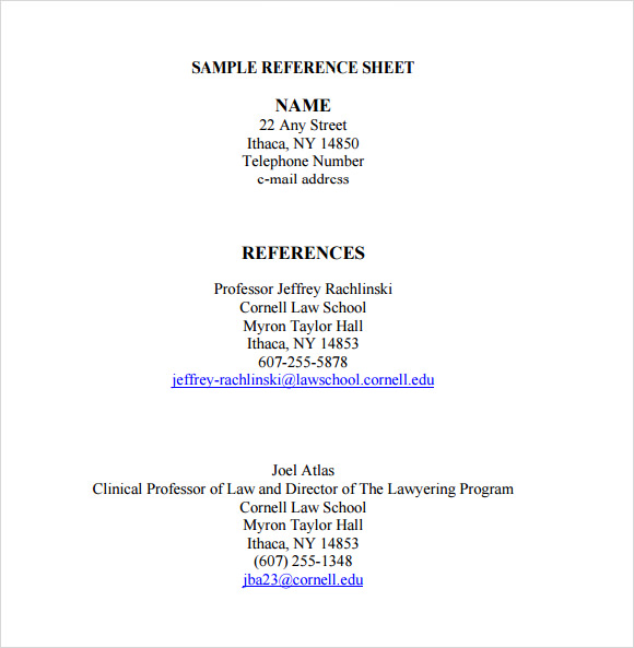 Examples Of Reference Page For Resume - Template