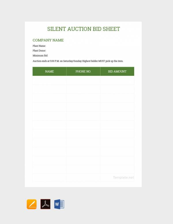 20 sample silent auction bid sheet templates to download doc pdf