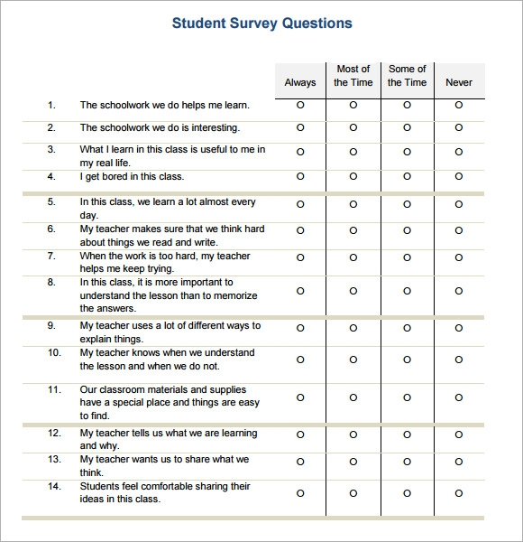 Sample Student Survey Questions