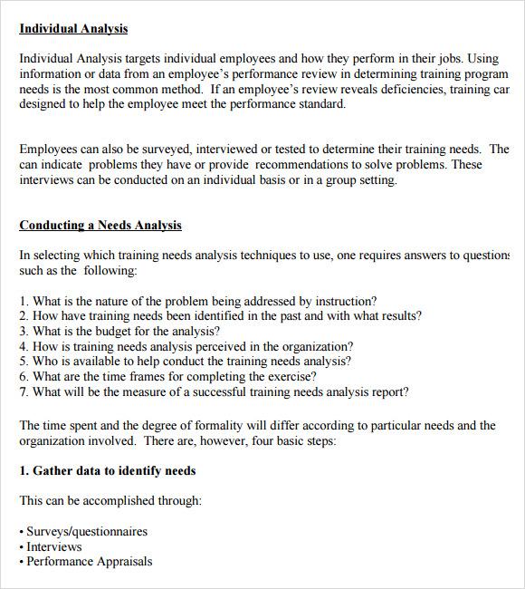 sample training needs assessment