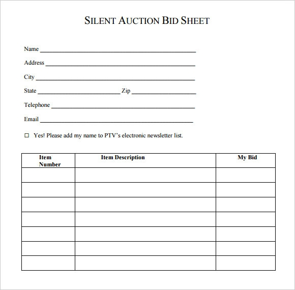 Silent Auction Bid Sheet Template   Download Free Documents In Pdf