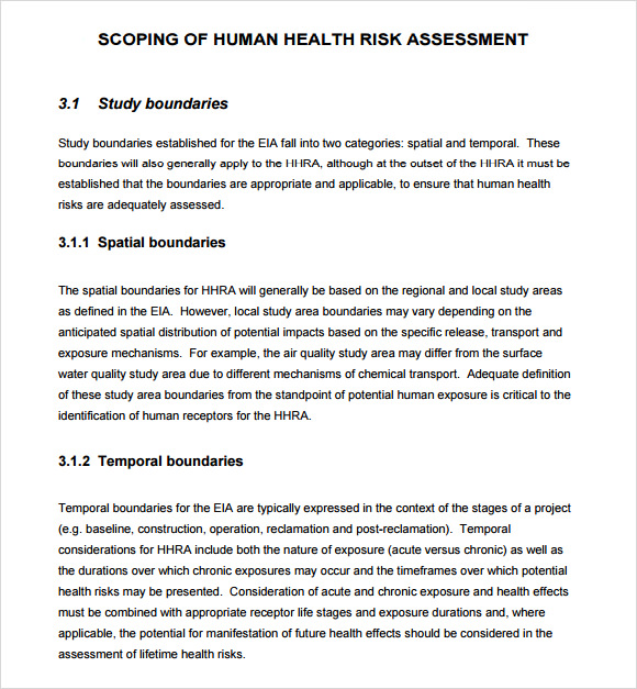 scoping of human health risk assessment