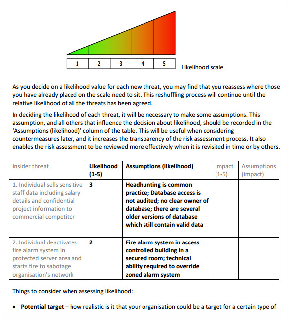 Sample risk assessment template 11 free documents in for Risk assessment security survey template