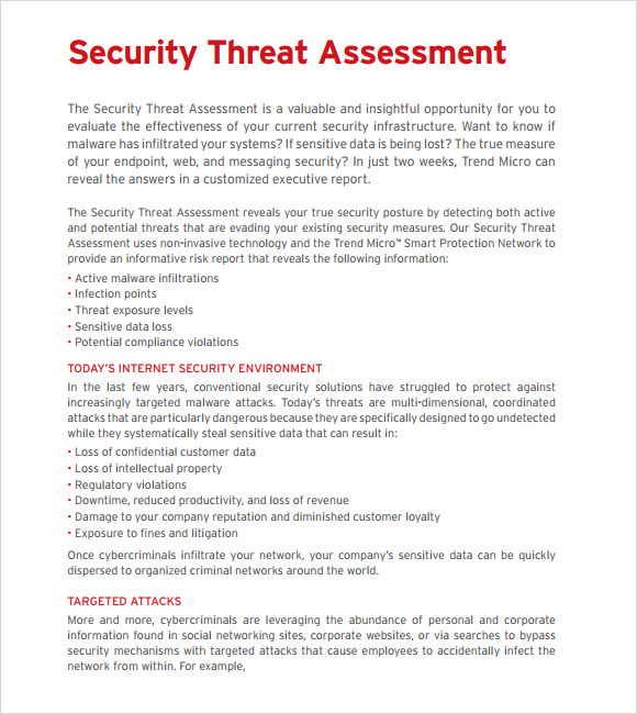 Sample Threat Assessment   Documents In Pdf
