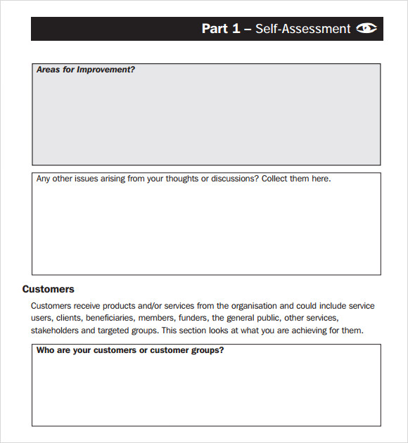 self assessment template pdf