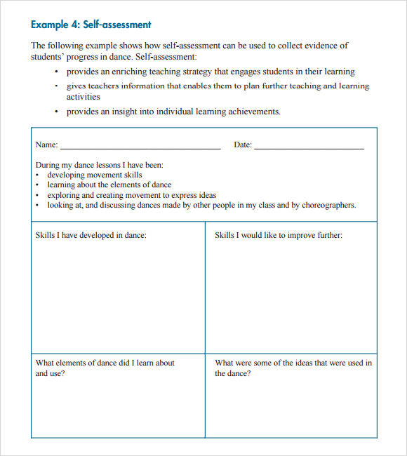 7 self assessment samples sample templates for Student self evaluation templates