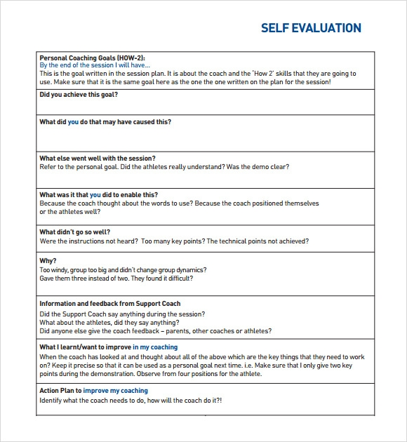 Self Assessment   Example Format