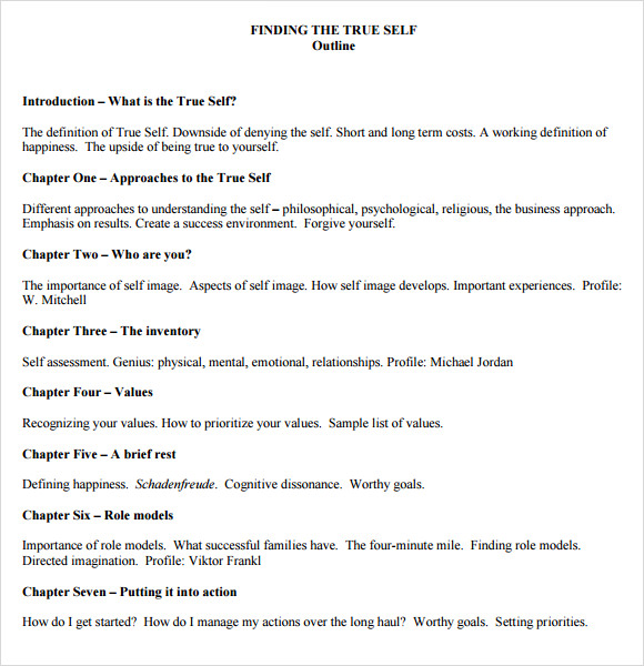 self help book outline template