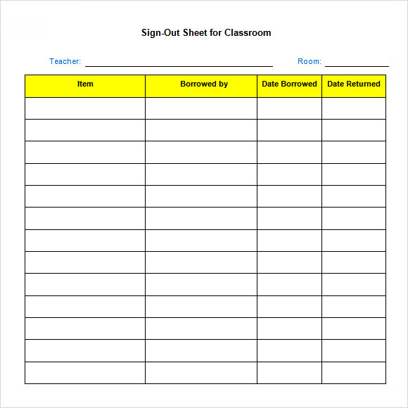 printable sign out sheets