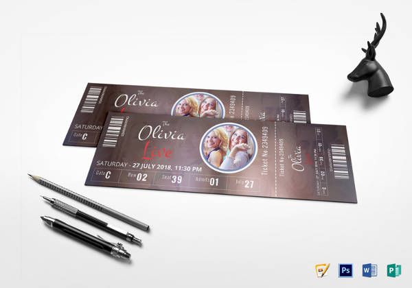 simple event show time ticket template