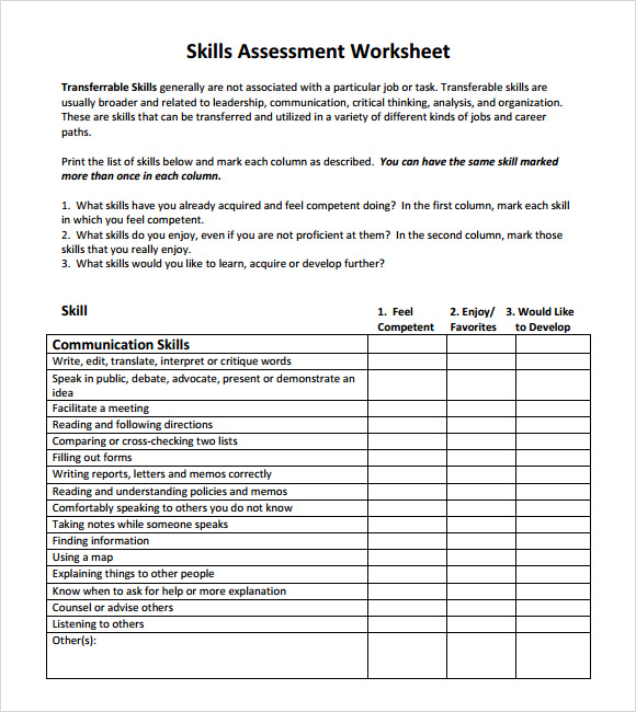Skills Assessment   Download Free Documents In Pdf Word Excel