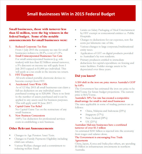 sample small business budget