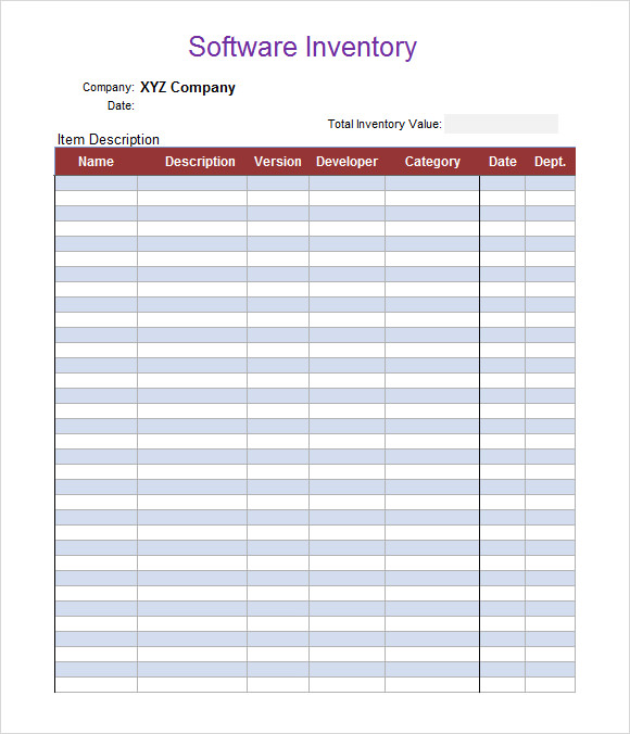 Sample Inventory Spreadsheet Template 5 Free Documents Download – Blank Inventory Template