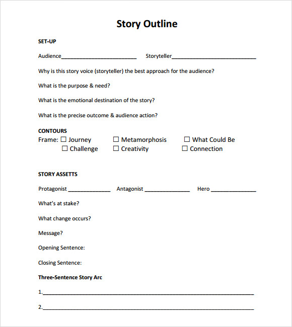 Story Outline Template. How To Write A Story High-Res Version