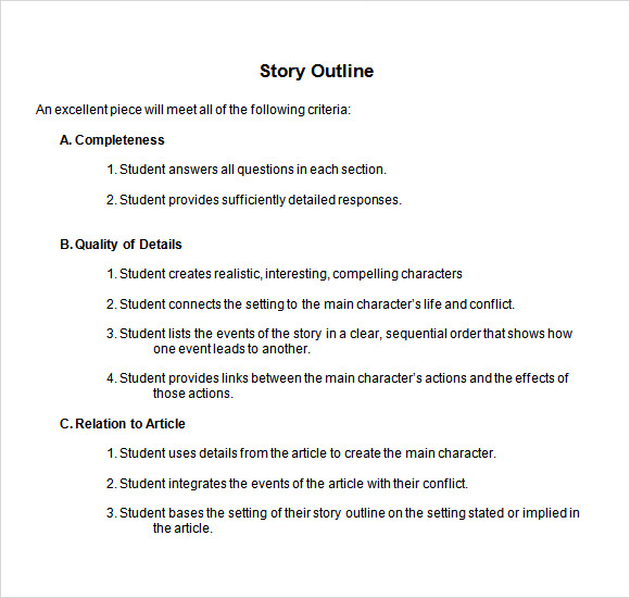 Story Outline Sample   Documents In Pdf Word