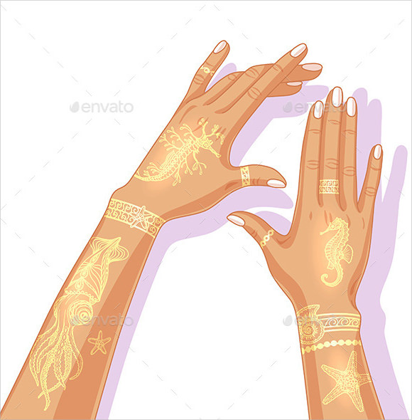 summer flash tattoo design template