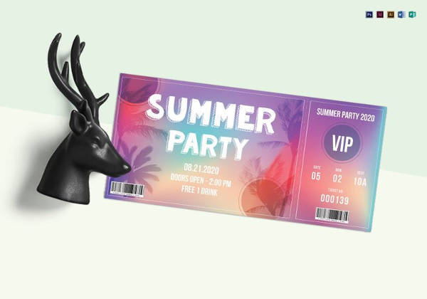summer party ticket template