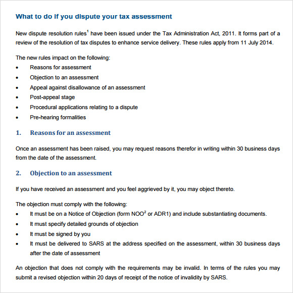 tax assessment template pdf