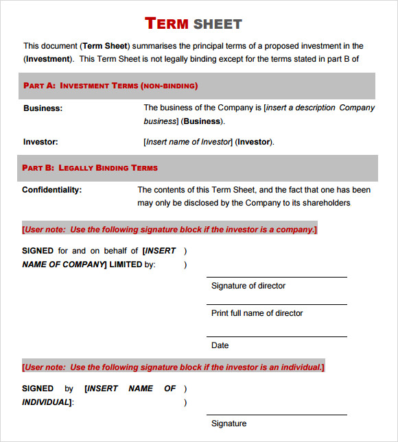14 sample term sheet templates to download sample templates simple term sheet template cheaphphosting Gallery