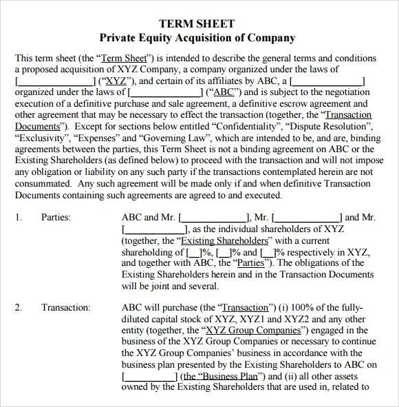 14 sample term sheet templates to download sample templates for Acquisition term sheet template