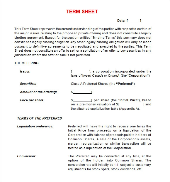 Term Sheet Template  BesikEightyCo