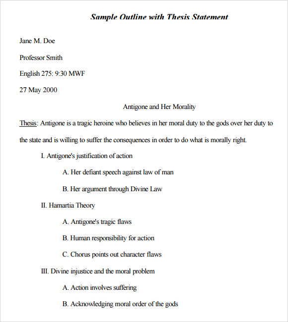 Sample Mla Outline Template   Free Documents In Pdf Word