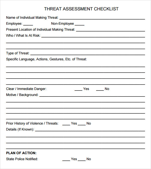 threat assessment checklist