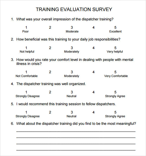 Training Survey Sample