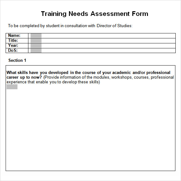 training needs analysis template