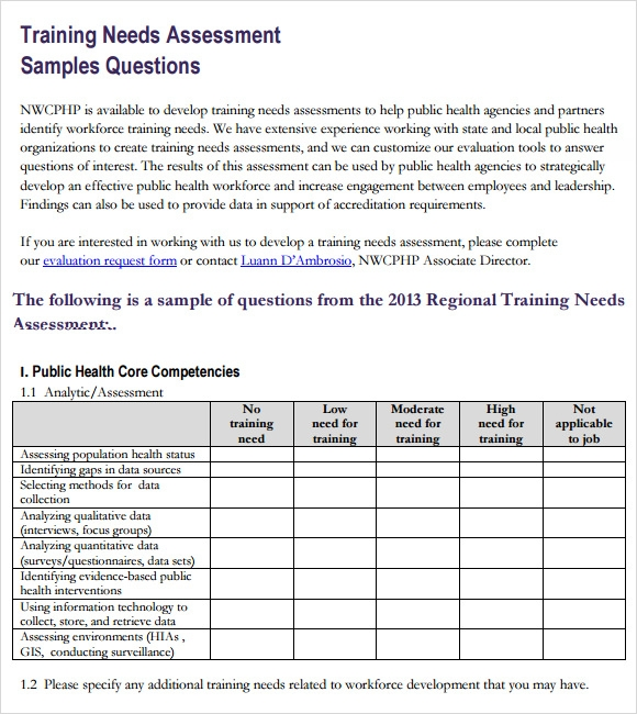 Training Needs Assessment Questions  Assessment Forms Templates