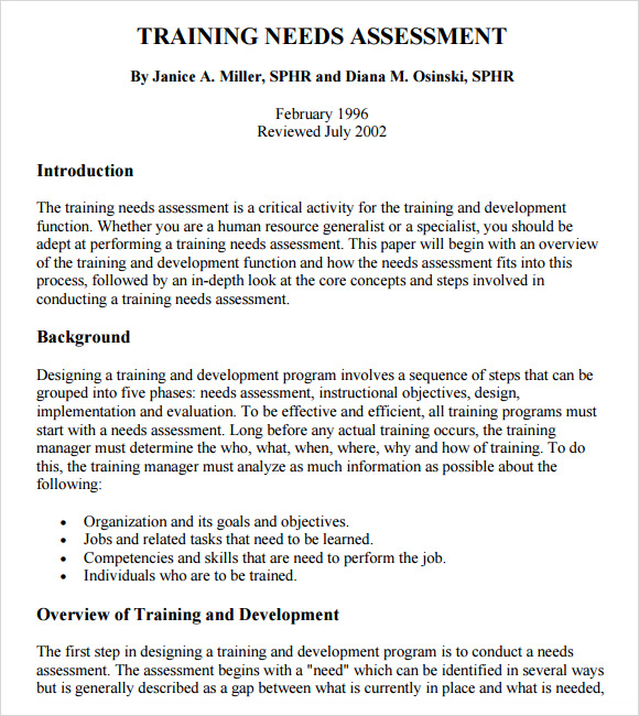 Training Needs Analysis Template - Apigram.Com