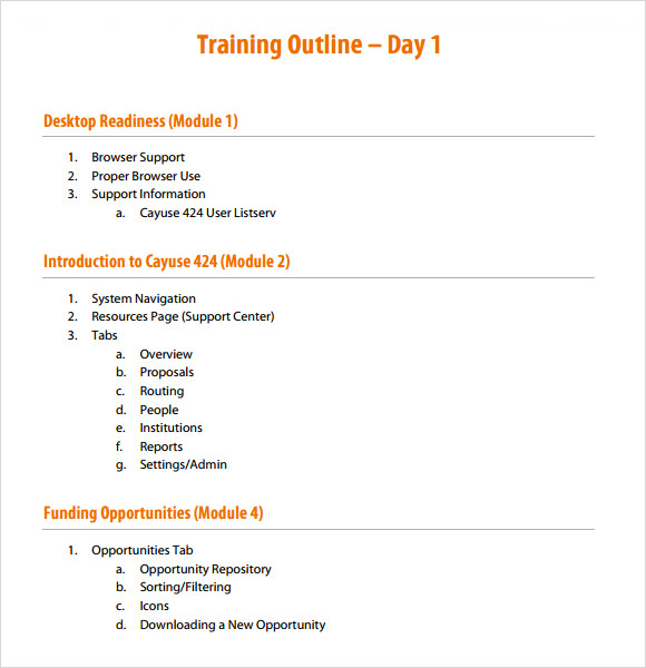 Training outline template 9 download free documents in for Training module template