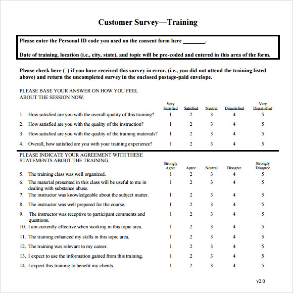 15 sample training survey templates to download sample for Questionair template