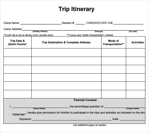 Cruise itinerary template 9 download free documents in for Blank trip itinerary template