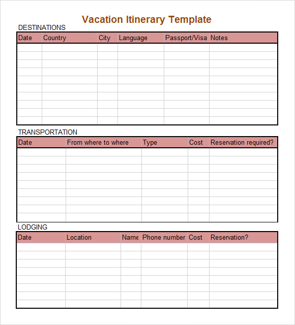 Itinerary Template. Vacation Holiday Itinerary Template Holiday