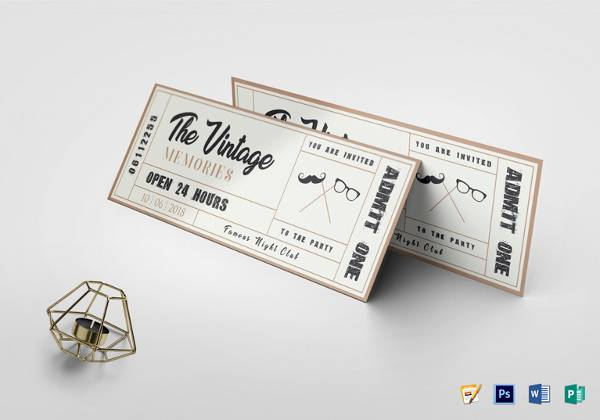 vintage event ticket template