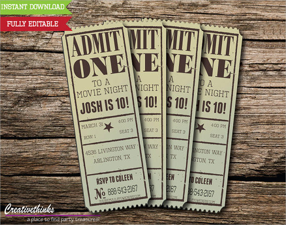 11 sample amazing movie ticket templates to download for Ticket invitation template free