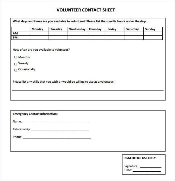 Sample Contact Sheet 5 Documents in PDF – Sample Contact Sheet