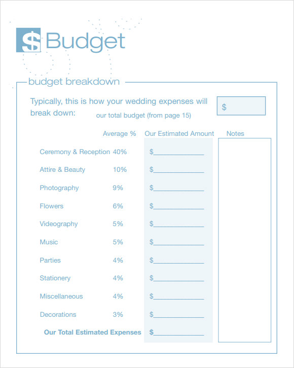 7 Wedding Budget Template Samples Examples Format