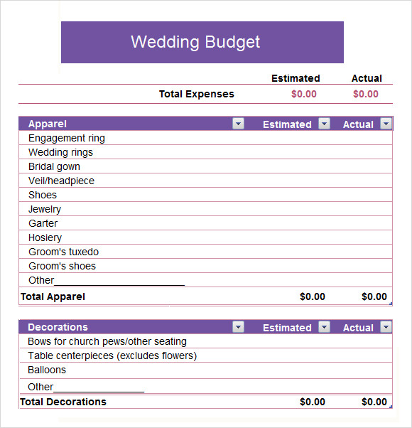 Wedding Budget Worksheet Printable: 8+ Documents In Word, Excel, PDF