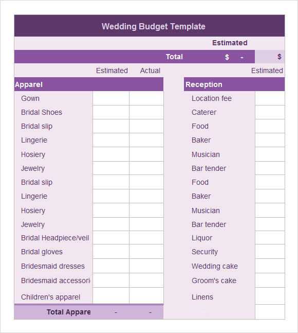Sample Wedding Budget   Documents In Word Excel Pdf