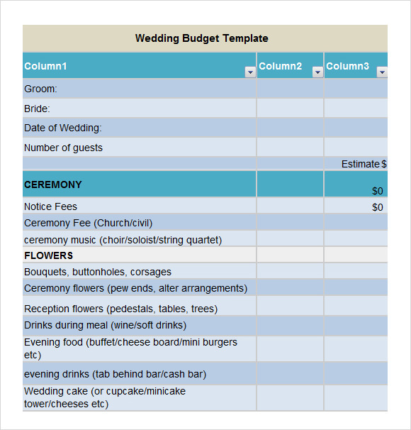 Sample Wedding Budget 5 Documents In Word Excel PDF – Wedding Budget Worksheet Excel