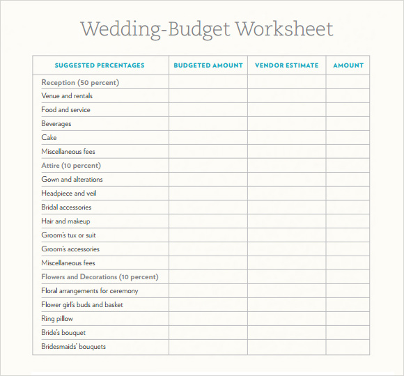 6 Wedding Budget Samples Sample Templates